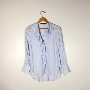 NWT $36  ZARA Blue Striped Ruffle Shirt - XS
